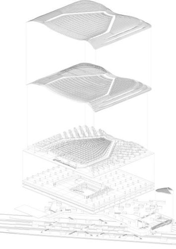 Canopy exploded axonometry (envelope, secondary structure, primary structure, existing) © Agence Patrick Berger et Jacques Anziutti architectes