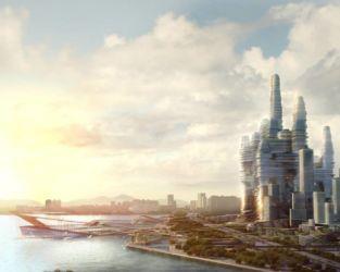"""Masterplan per il concorso """"Shenzen Bay Super City"""", con la previsione di tre torri e un parco lineare (primo premio, 2014)"""