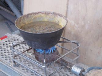 Preparazione della colatura in piombo