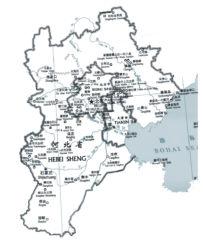 Mappa di Pechino (al centro), Tianjin e provincia di Hebei