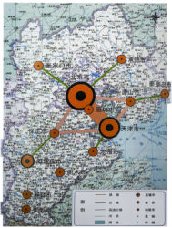 "Strategia territoriale di Jing-Jin-Ji (da L. Wu, ""Research on the rural and urban spatial development planning for the greater Beijing Region"", Tsinghua University Press, Pechino 2002)"