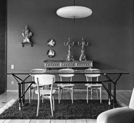 Ico Parisi, tavolo con struttura in ferro laccato nero e piano in cristallo, 1955 (esecuzione Brugnoli Mobili, Cantù. Courtesy Archivio del Design di Ico Parisi, Como)