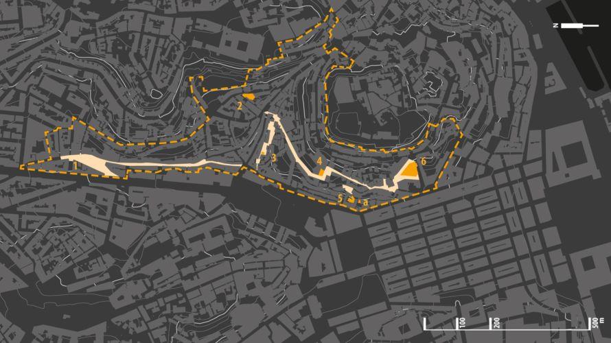Pianta del centro di Lisbona. L'area tratteggiata delimita il quartiere di Mouraria:  (1) Largo do Intendente; (2) Isolato dos Lagares; (3) Casa della Severa (4) Chiesa di San Lourenço; (5) Largo dos Trigueiros; (6) ex Mercato do Chão do Loureiro. (a) uno dei progetti BIP-ZIP, la sede dell'ass. Renovar à Mouraria.
