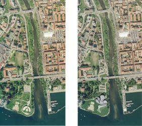 Situazione precedente (a sinistra, con l'arena all'aperto poi demolita) e planimetria di progetto. In alto a destra, la piazza Fratelli Bandiera, con il mercato (© S.B.ARCH. BARGONE ASSOCIATI)