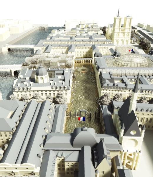 La connessione tra il Palazzo di giustizia (in primo piano) e l'Hôtel Dieu (© Dominique Perrault Architecture DPA-ADAGP)