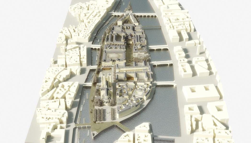 """Veduta d'insieme da est; la """"poppa"""" dell'isola (© Dominique Perrault Architecture DPA-ADAGP)"""
