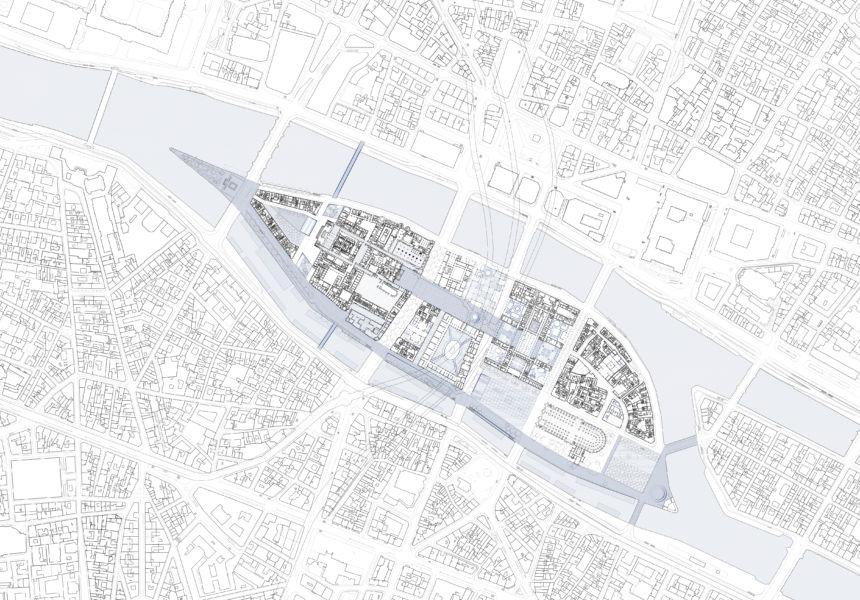 Planimetria del livello strada (© Dominique Perrault Architecture / DPA-ADAGP)
