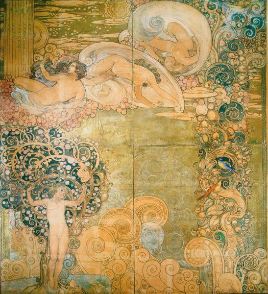 Galileo Chini, Studio preparatorio per la decorazione dello scalone delle Terme Berzieri a Salsomaggiore Terme (1919, collezione V. Chini) (© esseci)
