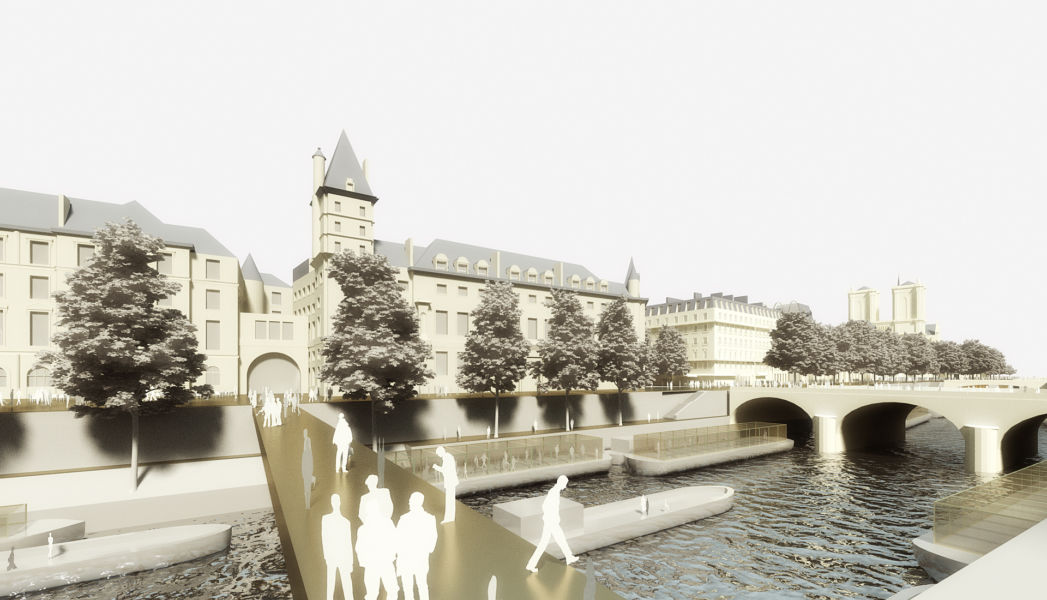 La nuova passerella tra il Palazzo di giustizia e la rive sinistra (© Dominique Perrault Architecture DPA-ADAGP)