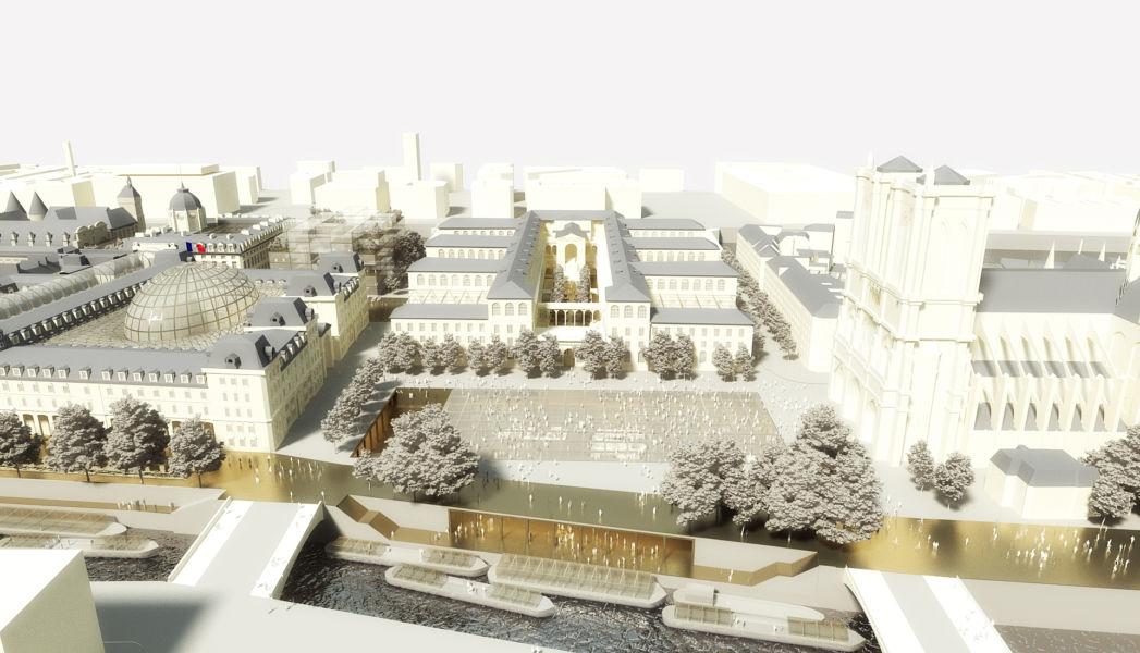La nuova piazza di Notre-Dame (© Dominique Perrault Architecture DPA-ADAGP)