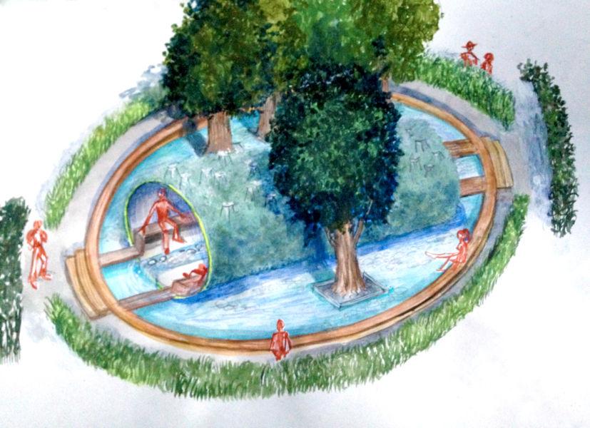 Evaporazione mediterranea è il giardino dell'italiano Stefano Passerotti, che riflette sull'attuale situazione del Mare Nostrum, utilizzando la metafora del tronco d'albero adagiato sull'acqua.