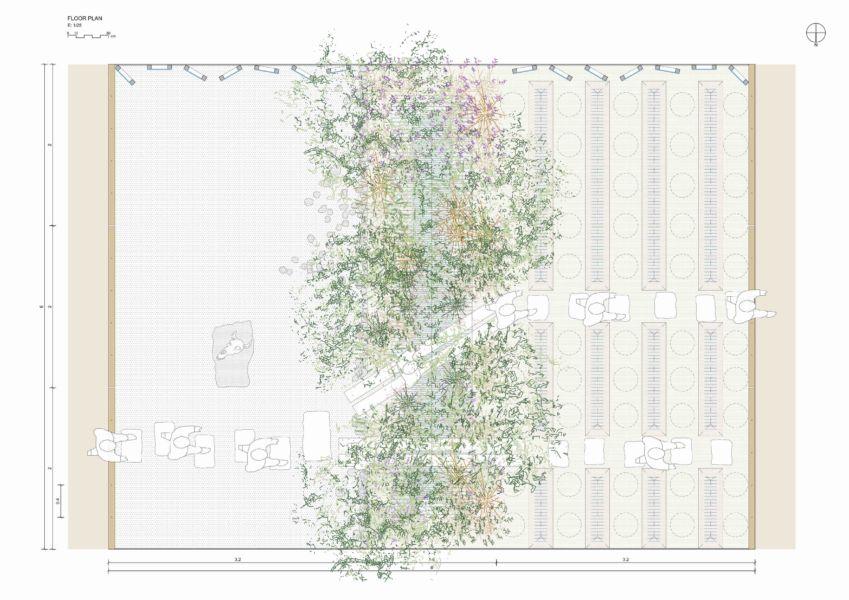Claudia Amias e Joan Battle della Escula Tecnica Superior de Arquitectura di Barcellona puntano l'attenzione sul tema della riforestazione nelle zone aride con il giardino Through Vegetation.