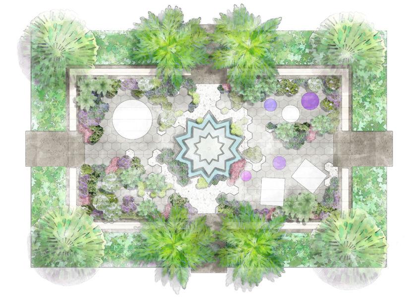 E' un invito all'amicizia e alla fratellanza il progetto della designer arabo – londinese Kamelia Bin Zaal, intitolato Amity e ispirato alla convivialità dei cortili arabi, spazi aperti in cui condividere il piacere di stare insieme.