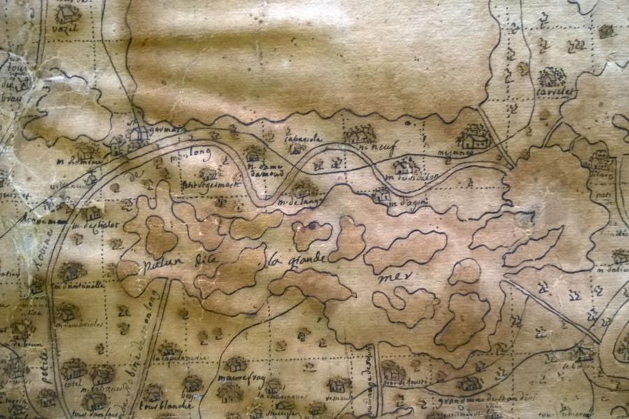 Mappa della Camargue conservata presso la Mediateca dell'Hôtel-Dieu di Arles ora Espace Van Gogh, 2016 (© Elena Franco)