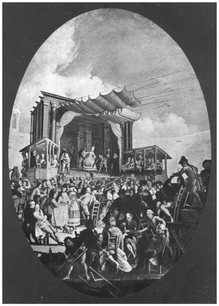 """""""Commedia italiana in Arena"""", incisione di M. Marcuola, II^ metà del Settecento. Si nota il palcoscenico del cosiddetto """"teatro diurno"""", definito nel 1877 da Antonio Pompei """"l'indecente baracca"""" che secondo lo studioso ingombrava e deturpava l'anfiteatro"""