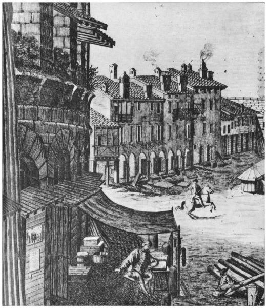 """""""La piazza della Bra' di Verona"""", incisione di T. Majeroni, 1747 (particolare). Si notano di scorcio i tetti inseriti al di sotto dei voltati del secondo livello per proteggere le sottostanti botteghe e abitazioni dalle infiltrazioni d'acqua provenienti dalla cavea"""