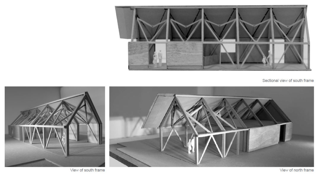 Modello in scala 1:50 dell'edificio centrale del centro visite, Abir Architects