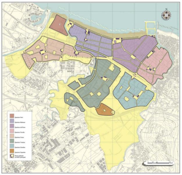 La perimetrazione in quartieri del territorio comunale di Cattolia, nel Materplan firmato da Leon Krier