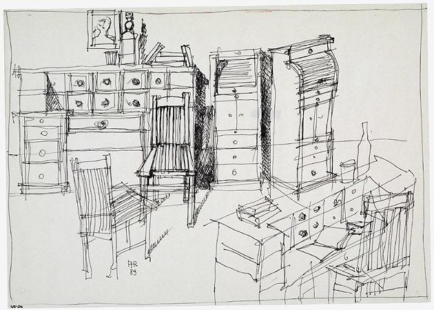 Aldo Rossi, Ambiente con arredi, 1989 Archivio Aldo Rossi, Collezione MAXXI Architettura, courtesy Fondazione MAXXI, Roma