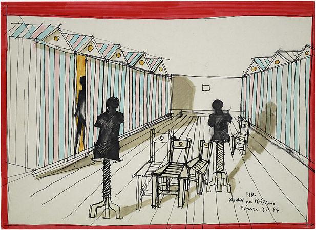 Aldo Rossi, Allestimento per Pitti Uomo, Firenze, dicembre 1984  Archivio Aldo Rossi, Collezione MAXXI Architettura,  courtesy Fondazione MAXXI, Roma