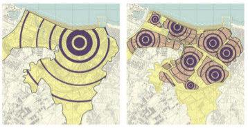 Schema ideogrammatico con il raffronto tra la città di oggi e lo schema policentrico immaginato dal Masterplan