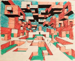 Ville Spatiale. Drawing in multicolor markers and black ink on white paper (Courtesy Marianne Polonsky Collection/ Yona Friedman)
