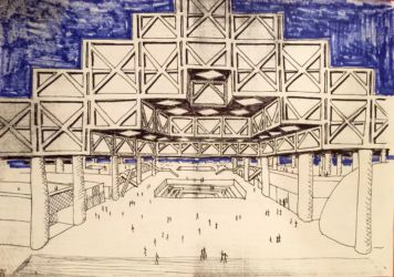 Entry Proposal visualization for La Défense Paris competition, (1980s).  Drawing in black ink, blue marker over xerox on white paper. Courtesy Marianne Polonsky Collection/ Yona Friedman