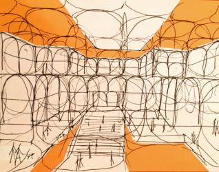 Visualization INSIDE the space chain bridge building of the European Parliament in Strasbourg, (1970s). Collage white paper on orange drawing paper background, with drawing in black ink (Courtesy Marianne Polonsky Collection)