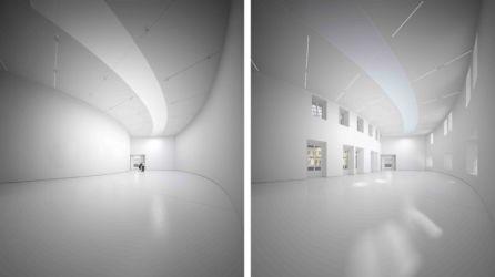 La sale espositiva a doppia altezza con illuminazione zenitale e configurazione di muri chiusi o aperti (© Artefactory Lab ; Tadao Ando Architect & Associates; NeM / Niney & Marca Architectes; Agence Pierre-Antoine Gatier. Courtesy Collection Pinault - Parigi)