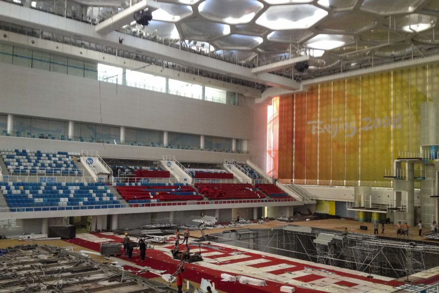 Water cube in trasformazione per competizioni di curling