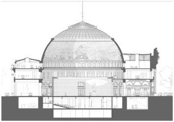Sezione est-ovest (© Artefactory Lab; Tadao Ando Architect & Associates; NeM / Niney & Marca Architectes; Agence Pierre-Antoine Gatier. Courtesy Collection Pinault - Parigi)