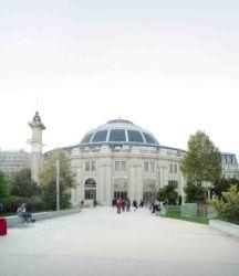 Vista esterna di progetto dal giardino delle Halles (© Artefactory Lab ; Tadao Ando Architect & Associates; NeM / Niney & Marca Architectes; Agence Pierre-Antoine Gatier. Courtesy Collection Pinault - Parigi)