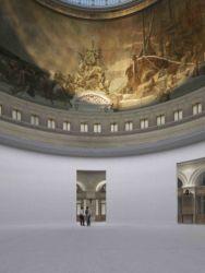 Vista interna di progetto del cilindro e della cupola dal livello terra (© Artefactory Lab ; Tadao Ando Architect & Associates; NeM / Niney & Marca Architectes; Agence Pierre-Antoine Gatier. Courtesy Collection Pinault - Parigi)