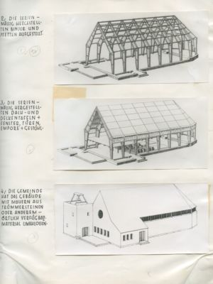 Otto Bartning, schema tipologico e assemblaggio di una Notkirchen, 1946 (© Archivio Otto Bartning, Universitá di Darmstadt)