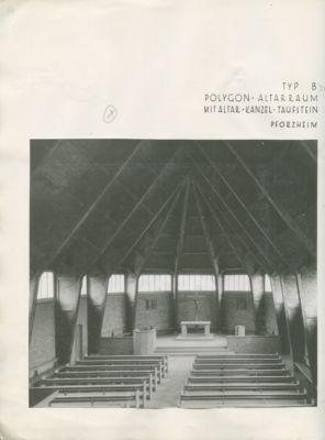Otto Bartning, Chiesa di Emergenza tipo 'B' con altare poligonale; Pforzheim, 1948 (© Archivio Otto Bartning, Universitá di Darmstadt)