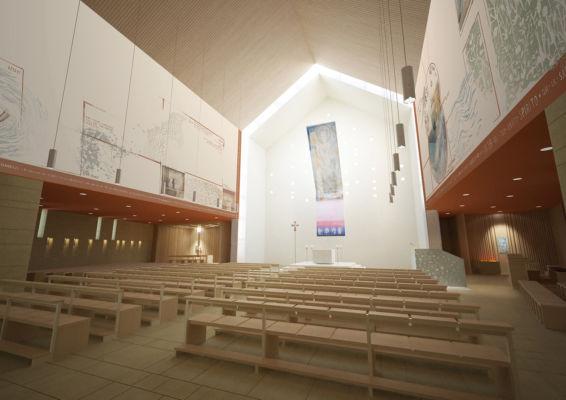 Vista interna aula liturgica (©Francesca Leto, Matteo Baratto grafica)