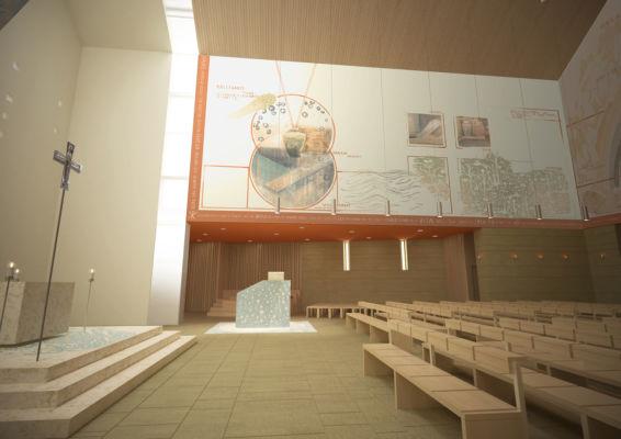 Vista interna ambone e opere d'arte (©Francesca Leto, Matteo Baratto grafica)