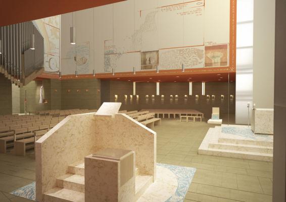 Vista interna altare dall'ambone (©Francesca Leto, Matteo Baratto grafica)