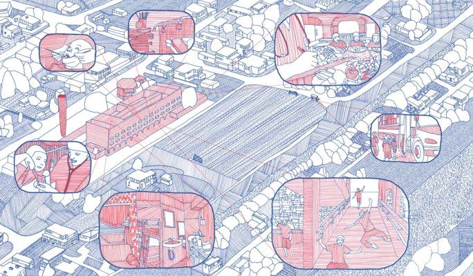 Fumetto che esemplifica le diverse attività in un CIEP (© Aberrant Architecture)
