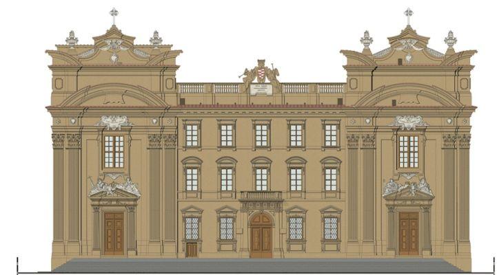 Rendering, Complesso di San Firenze, Prospetto Archittetti Paolieri&Valelá