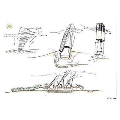 Torri dello Sheikh Zayed National Museum nel polo del Saadiyat Cultural District, progetto di Norman Foster